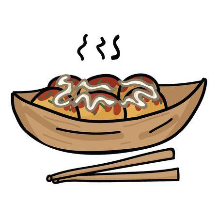Cute takoyaki and chopstick vector. Japanese snack food clipart. Иллюстрация