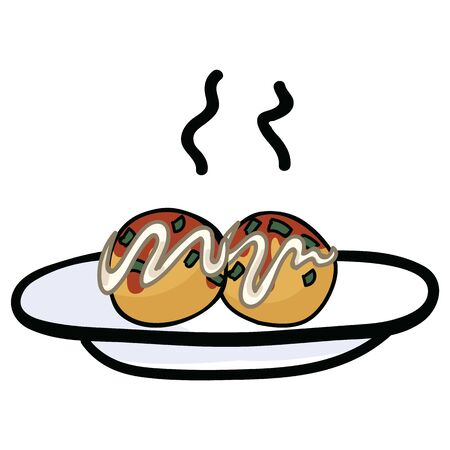 Cute octopus balls on plate vector. Hand drawn Japanese cultural snack. Иллюстрация