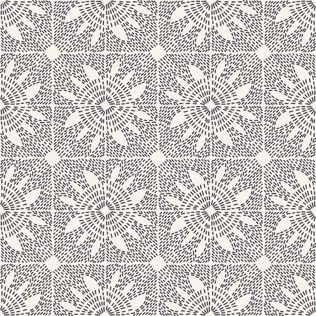 Running stitch embroidery background. Hand drawn simple needlework. Floral mosaic textile print. Ecru cream handicraft geometric home decor. Monochrome sashiko style. Seamless vector pattern.