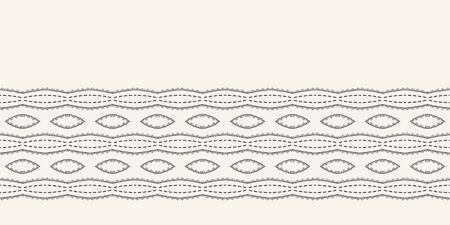 Running stitch embroidery border. Victorian diamond needlework pattern. Hand drawn ornamental textile ribbon. Ecru cream home decor edging. Monochrome chevron seamless vector background.