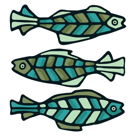 Cute patterned dover sole vector illustration. Decorative aquatic fish clipart.