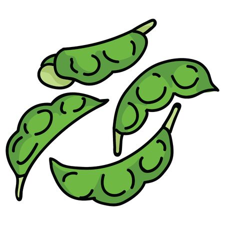 Hand drawn edamame pods. Cute japanese soybean snack food clipart.