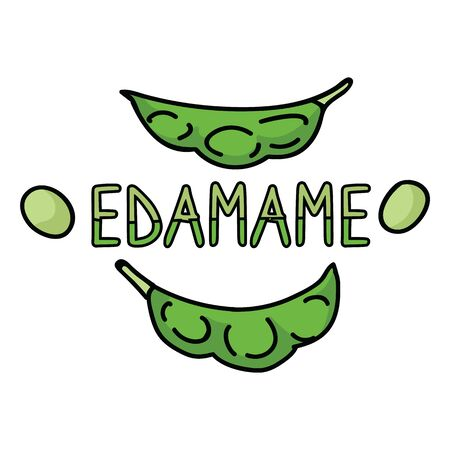 Cute edamame typography. Hand drawn Japanese soybean clipart. Illustration