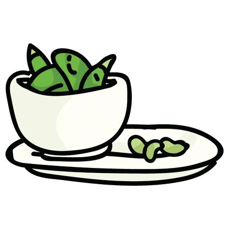 Cute served edamame in bowl. Hand drawn Japanese soybean clipart.