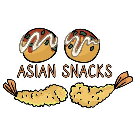 Cute Japanese snack assortment vector. Tempura and takoyaki asian food clipart.