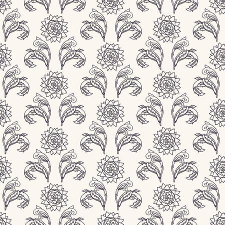 Art Nouveau flower motif Jugendstil style. Vector seamless pattern. Passionflower damask textiles swatch. Decorative arts crafts ornamental home decor. Modernist monochrome floral all over print. Illustration