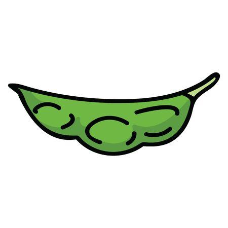 Cute soy bean pod illustration. Hand Drawn edamame snack clipart.