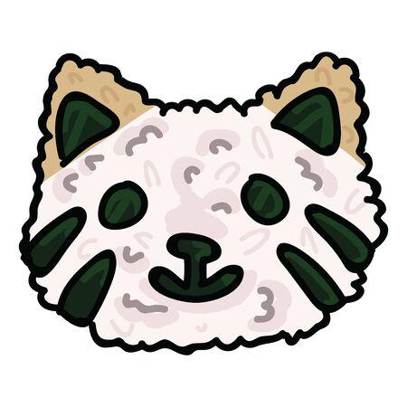 Kawaii cat onigiri illustration. Hand drawn cute Japanese nori pet snack clipart. Illustration
