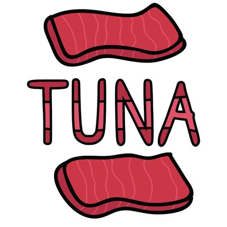 Cute tuna sashimi typography graphic. Hand drawn japanese sushi snack clipart. Illustration