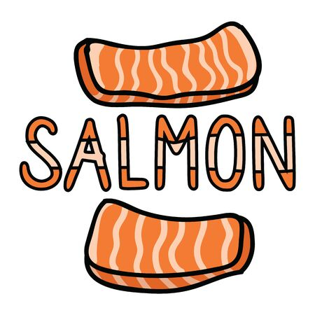 Cute salmon sashimi typography graphic. Hand drawn japanese sushi snack clipart.