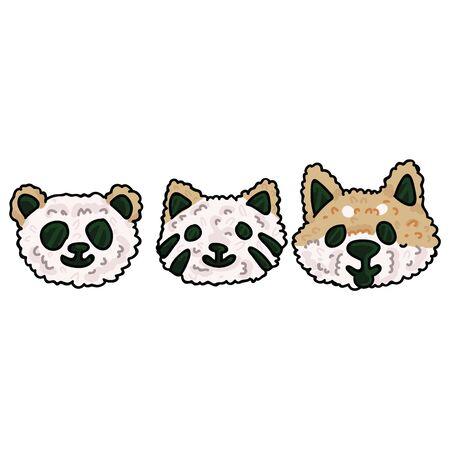 Cute animal onigiri illustration set. Hand drawn Shiba Inu, cat and panda snack clipart Illustration