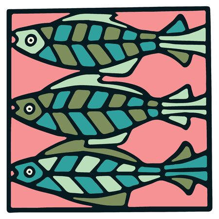 Cute three fish tile clipart. Colorful decorative marine life vector illustration  Illusztráció
