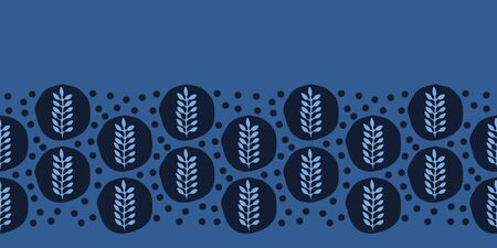 Indigo blue ethnic leaf border pattern. Folk art nature polka dots textiles background. Japanese dye style monochrome home decor. Trendy plant leaves foliage banner ribbon. Seamless vector Foto de archivo - 129862093