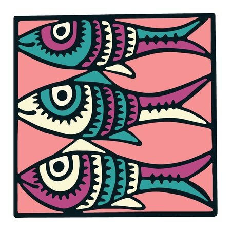 Three fish tile clipart. Colorful decorative marine life vector illustration