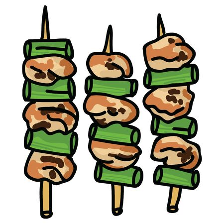 Cute set of yakitori chicken skewers illustration. Hand drawn Japanese snack food clipart.