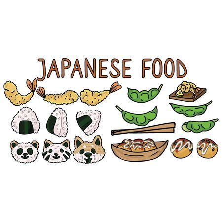 Cute Japanese food set illustration. Tempura, onigiri, animal shapes, edamame, takoyaki Asian snack clipart.