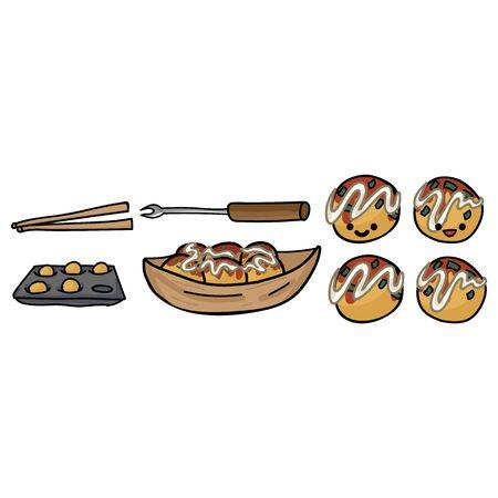Cute takoyaki cooking set illustration. Hand drawn octopus ball clipart.
