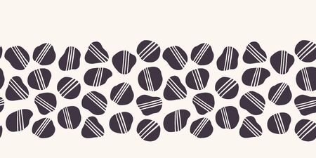 Geometric striped pebble seamless border pattern. Hand drawn tossed organic irregular rocks background. Hipster black white fashion trim. Home decor stationery illustration backdrop. Vector banner