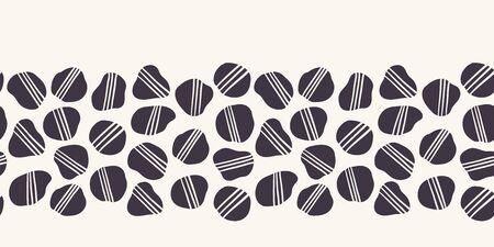 Reticolo senza giunte del bordo del ciottolo a strisce geometrico. Sfondo di rocce irregolari organiche gettate a mano. Modanature bianche nere hipster. Contesto dell'illustrazione della cancelleria della decorazione domestica. Banner vettoriale