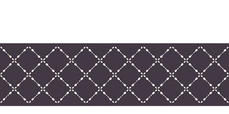 Modern geometric hand drawn trellis mosaic border. Repeating abstract ribbon trim. Ornamental monochrome geo. Trendy ethnic arabic surface design. Seamless decorative vector edging background.