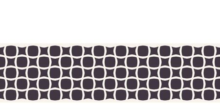 Title Modern geometric hand drawn square mosaic border. Repeating abstract ribbon trim. Monochrome geo. Trendy ethnic tribal surface design. Seamless decorative vector edging background.