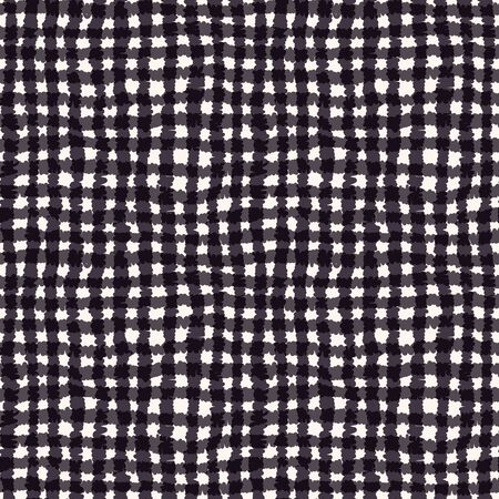 Seamless pattern. Hand drawn abstract hessian plaid fabric texture. Monochrome overlay background. Woven tartan cross textile brush all over print. Graphic design overlay illustration. Vector swatch  イラスト・ベクター素材