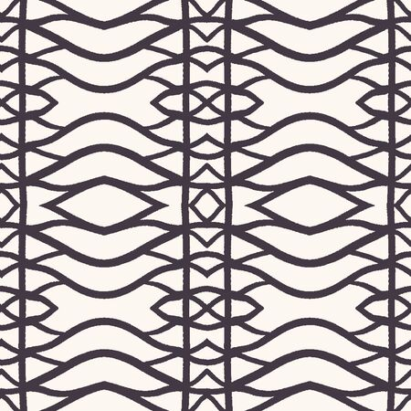 Seamless vector pattern. Hand drawn woven trellis grid. Geometric black and white line background. Abstract hipster swatch Vectores