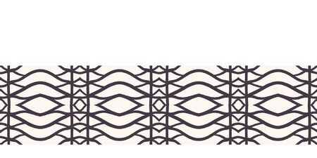 Seamless vector border pattern. Hand drawn woven trellis grid. Geometric black and white line background. Abstract hipster ribbon edging. Vectores
