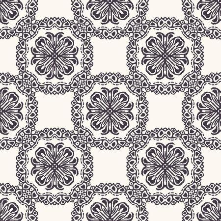 Seamless pattern hand drawn ornamental azulejo mosaic background. Geometric monochrome allover print. Vector floral circle swatch