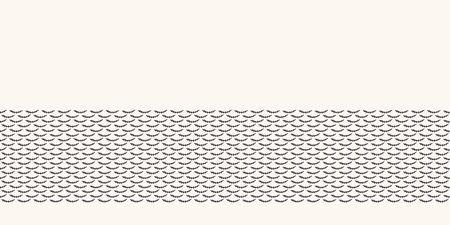 Seamless border pattern hand drawn little leaf twig stripe background. Ethnic nature stripe. Vector line art ribbon edge trim Stock Illustratie