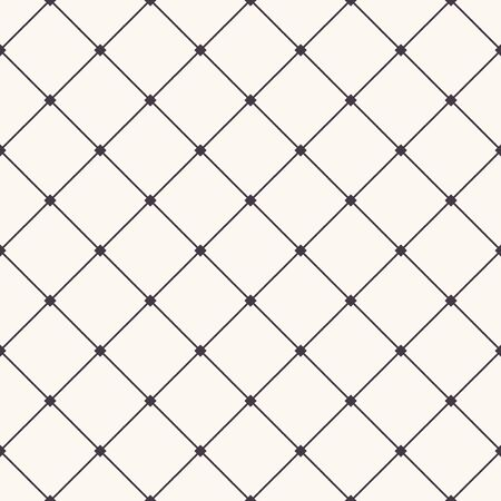Seamless pattern hand drawn check criss cross grid. Monochrome cell allover print. Vector geo swatch Vettoriali