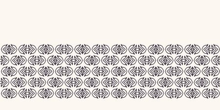 Seamless border pattern hand drawn little leaf stripe background. Ethnic nature stripe. Vector line art ribbon edge trim