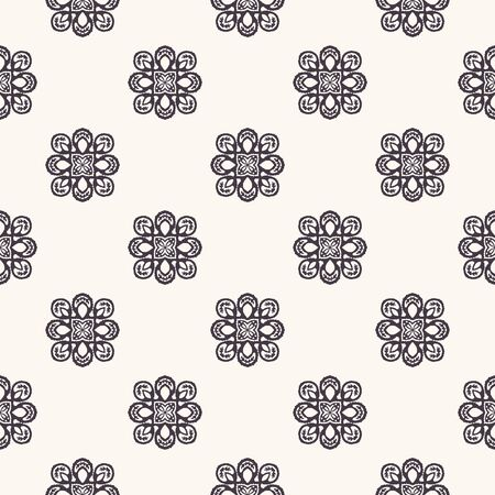 Seamless pattern hand drawn ornamental motif background. Geometric floral stylized allover print. Vector line art swatch