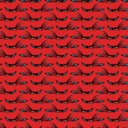 Boho leaves vector all over print. Seamless repeating pattern stripes. Red black bohemian folk motif background. Hand drawn fashion prints 1970s style. Wzory wallpaper, lino cut surface design. Illusztráció
