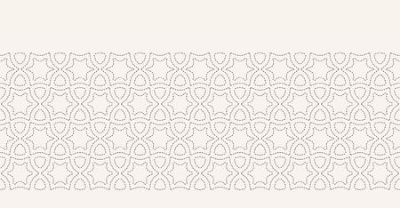 Running stitch embroidery border pattern. Arabic star needlework. Hand drawn ornamental textile ribbon trim. Ecru cream home decor. Monochrome simple starry grid. Seamless vector banner