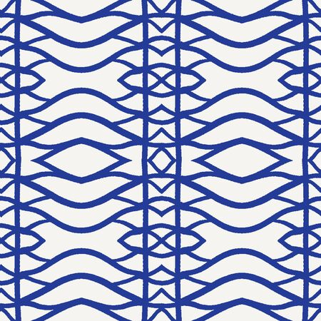 Seamless vector pattern. Hand drawn woven trellis grid. Geometric delft blue indigo line background. Abstract hipster swatch