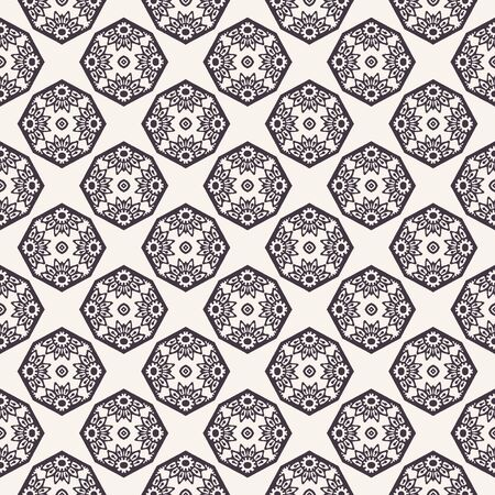 Vector pattern. Hand drawn mosaic tile shapes. Repeating geo floral background. Monochrome surface design textile swatch, modern daisy black white wallpaper, arabic turkish all over print