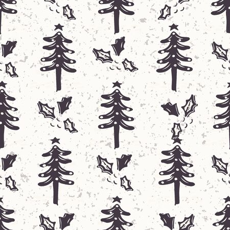 Seamless pattern. Hand drawn stylized Christmas tree. Fir holly leaf forest on green background. Traditional winter holiday all over print. Festive yule gift wrapping paper illustration. Vector swatch Banque d'images - 130390777