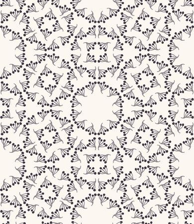Seamless pattern. Hand drawn abstract winter snowflakes. Stylish crystal stars on ecru background. Elegant boho holiday all over print. Festive gift wrapping paper yule illustration. Vector swatch.