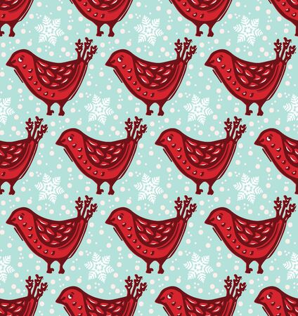 Seamless pattern. Hand drawn Christmas robin bird background. Frosty snowflakes all over print. Winter holidays gift wrap paper. Festive winter illustration. Traditional yule home decor.