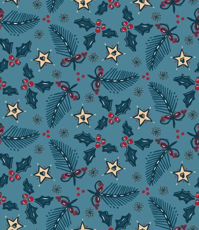 Seamless pattern. Christmas fir hand drawn foliage twig. Tossed tree branch, leaves, bow background. Winter holiday all over print. Festive traditional gift wrapping paper illustration.