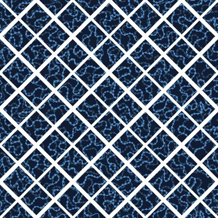 Indigo blue hand drawn mosaic seamless pattern. Repeating abstract square tile geometric. Japanese style dyed navy all over print swatch