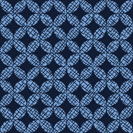 Indigo blue hand drawn mosaic seamless pattern. Repeating abstract circle tile geometric. Japanese style dyed navy all over print swatch
