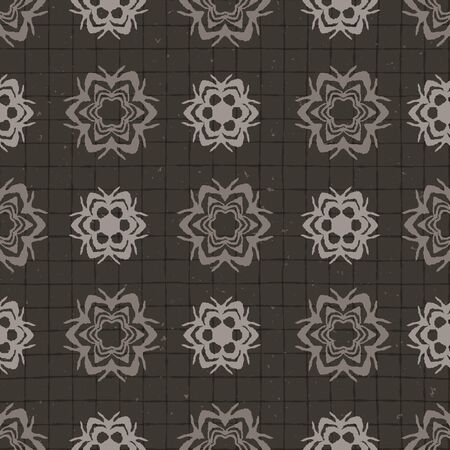 Hand drawn damask stripe seamless pattern. Modern japanese medallion motif on moody dark brown. Ecru elegant neutral tones. All over print for asian homedecor, fashion. Vector swatch repeat