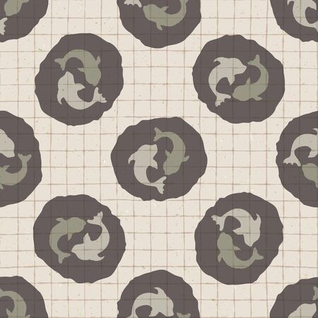 Hand drawn japanese koi carp symbol seamless pattern. Soft ecru beige neutral tone on grid background. Asian animal yin yang icon zakka backdrop, Japan allover kawaii stationery. Vector swatch repeat