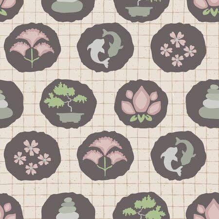 Hand drawn japanese symbol seamless pattern. Koi carp, bonsai, cherry blossom, lotus flower in soft ecru pink neutral tone. Asian zakka backdrop, Japan allover kawaii stationery. Vector swatch repeat