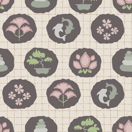 Hand drawn japanese symbol seamless pattern. Koi carp, bonsai, cherry blossom, lotus flower in soft ecru pink neutral tone. Asian zakka backdrop, Japan allover kawaii stationery. Vector swatch repeat