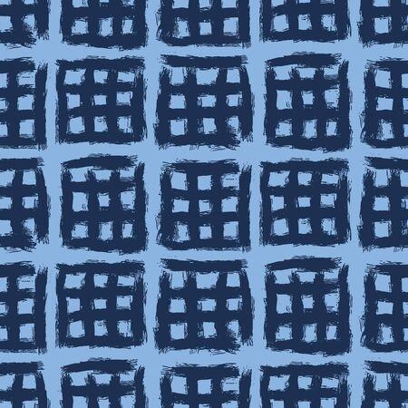 Seamless pattern. Hand drawn indigo blue broken cross grid background. Monochrome textured brush stroke all overprint abstract swatch