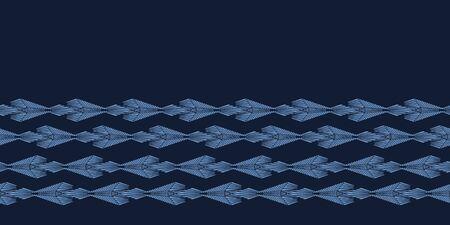 Modern indigo blue geometric hand drawn diamond border pattern. Repeating abstract background. Ornamental monochrome edging. Trendy geo washi tape. Dyed textile ribbon trim banner . Seamless vector Иллюстрация