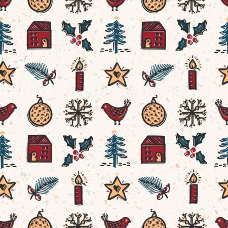 Seamless pattern. Hand drawn naive Christmas candle star, fir, tree, robin bird. Festive folk art background. Traditional holiday all over print. Yule gift wrapping paper illustration. Vector swatch